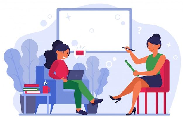Femmes discutant d'un nouveau message