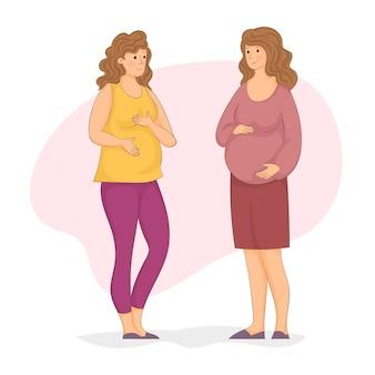 Femmes enceintes socialisant
