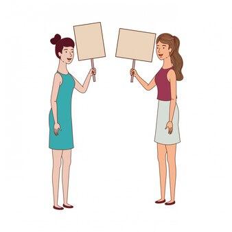 Femmes avec étiquette de personnage avatar en bois