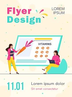 Femmes étudiant les vitamines dans le modèle de flyer des aliments biologiques