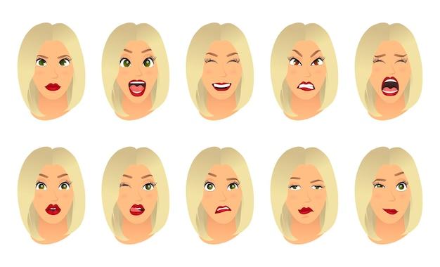 Femmes expressions faciales gestes émotions bonheur surprise dégoût tristesse ravissement