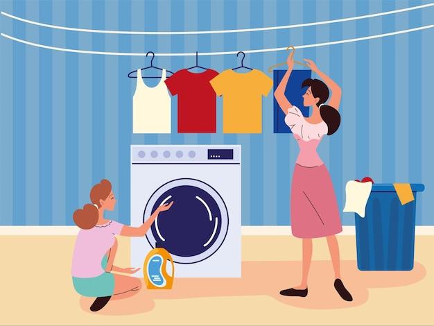 Femmes faisant la lessive