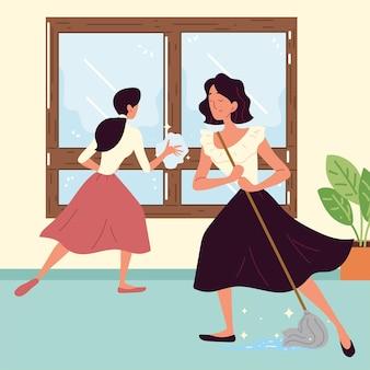 Femmes faisant le ménage