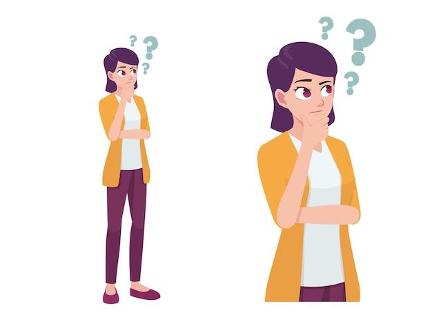 Femmes ou fille pensant et se demandant expression pose cartoon illustration