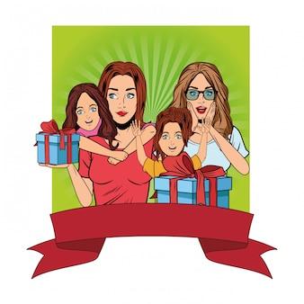 Femmes et filles avec une boîte cadeau pop art