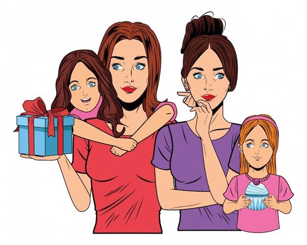 Femmes et filles avec coffret cadeau
