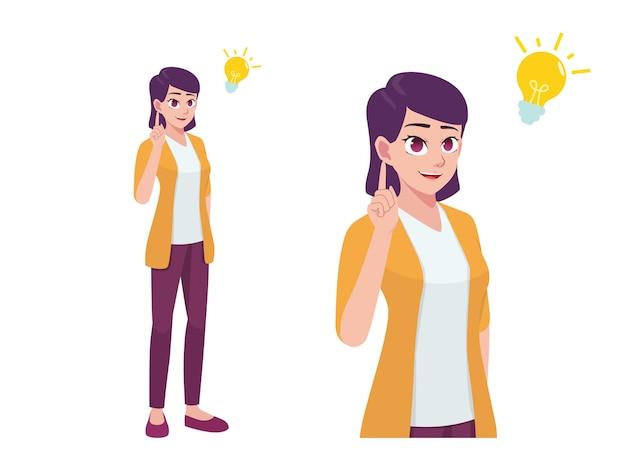 Les femmes ou les filles pensent et ont une idée de dessin animé pose expression illustration