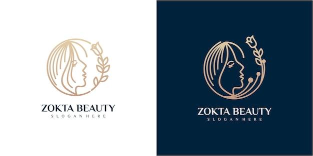 Les femmes font face au modèle de concept de conception de logo de beauté. style linéaire de logo de visage de beauté de femme, studio de beauté et modèle de marque cosmétique