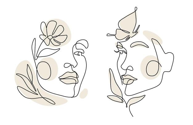 Les femmes font face à un dessin au trait avec des feuilles. style continu