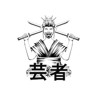 Femmes geisha illustration noir et blanc pour thsirt