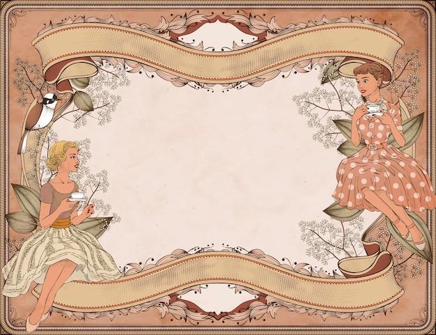 Femmes gracieuses ayant le thé de l'après-midi dans le jardin, arrière-plan de style gravure sur bois