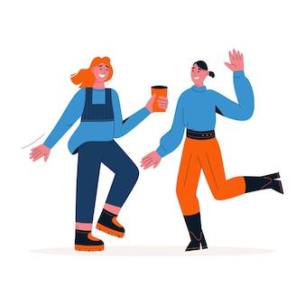 Femmes heureuses dansant ensemble et s'amusant