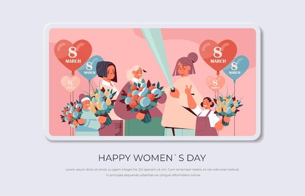 Femmes heureuses avec des fleurs et des ballons à air faisant selfie photo womens day 8 mars célébration de vacances
