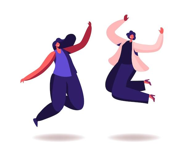 Femmes heureuses sautant sur fond blanc. les jeunes personnages féminins joyeux sautent ou dansent avec les mains levées