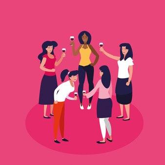 Les femmes heureux célébrer le personnage d'avatar du parti