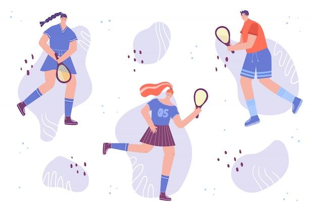 Des femmes et un homme en uniforme de sport avec une raquette. les gens jouent au tennis. illustration.