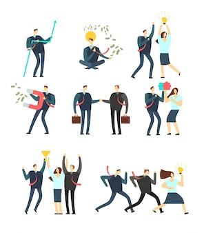 Femmes et hommes d'affaires agissant dans diverses situations. employés de dessin animé de vecteur