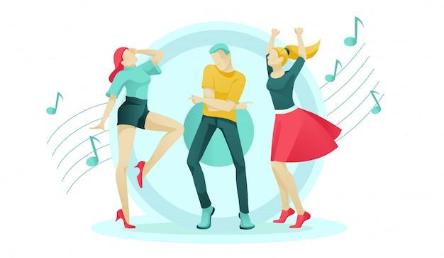 Les femmes et les hommes de bande dessinée passent à la musique sur la piste de danse