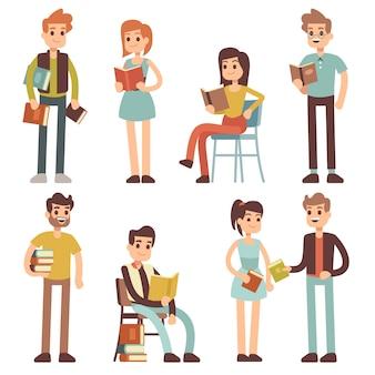 Femmes et hommes lisant des livres. les gens lecteurs de caractères définis.