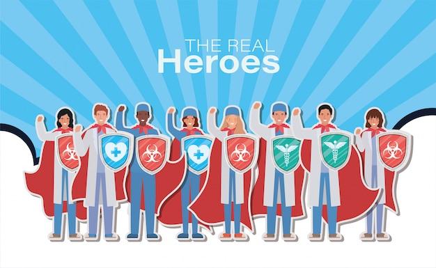 Femmes et hommes médecins héros avec cape et bouclier contre la conception ncov 2019 des symptômes de la maladie épidémique covid 19 et illustration du thème médical