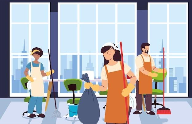 Femmes et hommes avec tablier dans la conception d'illustration de service de nettoyage
