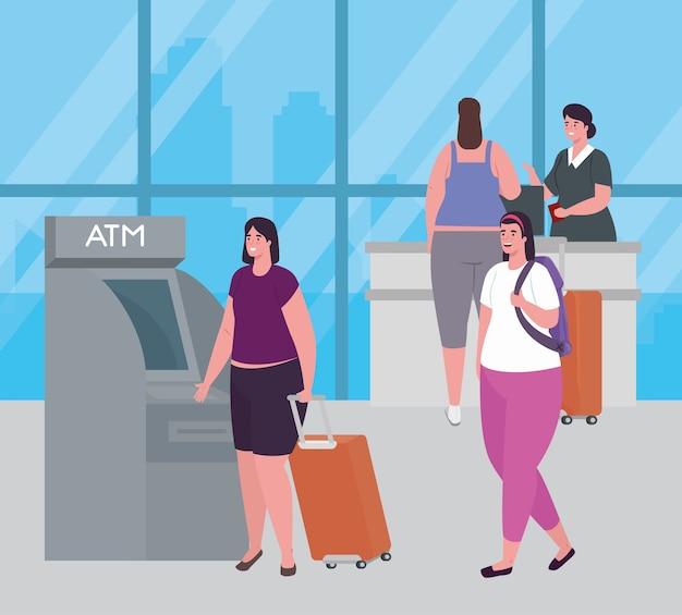 Femmes et hôtesse de l'air dans le terminal de l'aéroport, au guichet automatique et à la réception