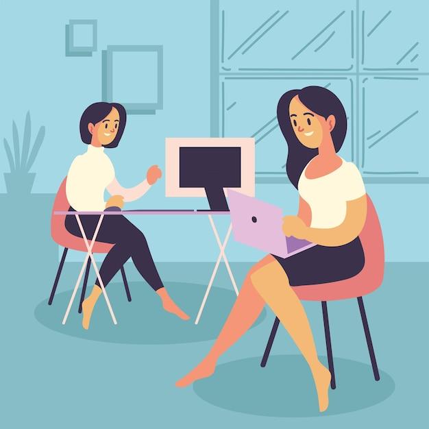 Femmes indépendantes travaillant