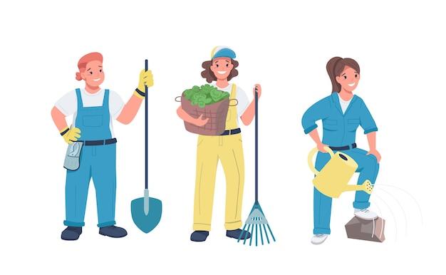 Femmes jardinage jeu de caractères détaillés de couleur plate. femmes gaies qui travaillent dur. femme faisant des travaux agricoles illustration de dessin animé isolé