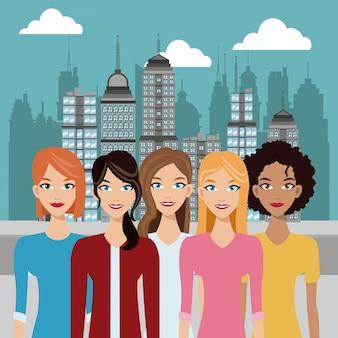 Femmes jeunes urbaines fond de construction