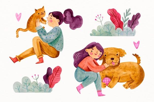 Femmes jouant avec leurs adorables animaux de compagnie