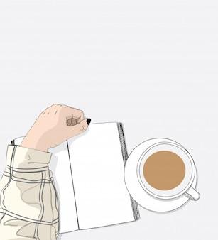 Les femmes lisent des livres et du café sur la table