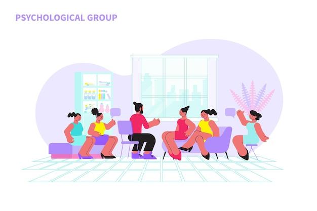 Femmes lors d'un entretien de groupe psychologique avec un psychologue masculin à plat