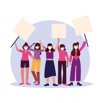 Femmes avec masques médicaux et panneaux de bannières