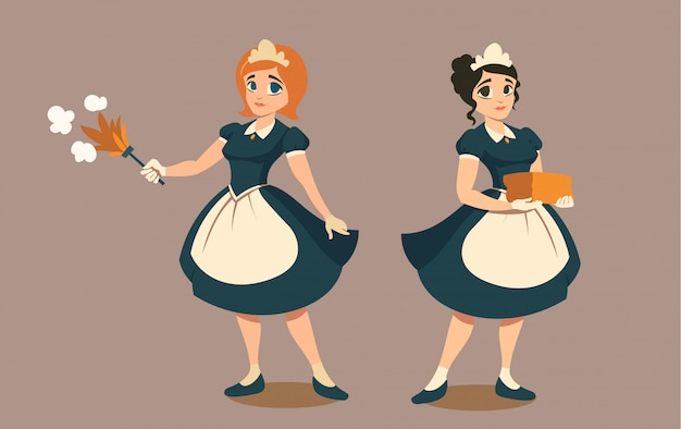 Femmes de ménage avec plumeau et pile de linge ou serviette