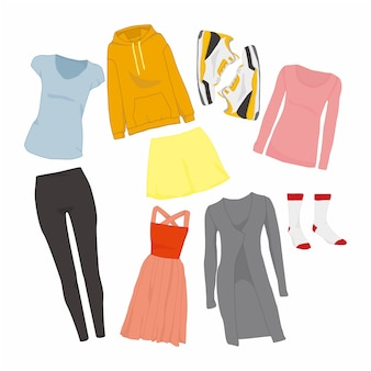 Femmes mignonnes fashion style articles illustration set
