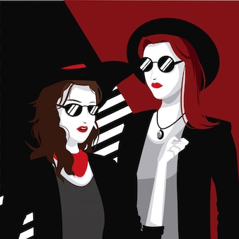 Femmes à la mode avec un collier de lunettes de soleil chapeau