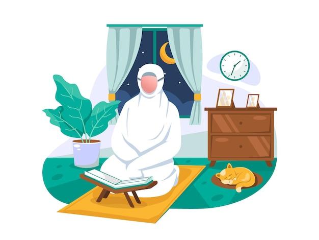 Les femmes musulmanes prient pendant les prières nocturnes du mois de ramadan flat