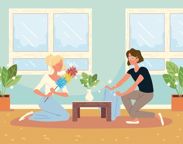 Femmes nettoyant le salon