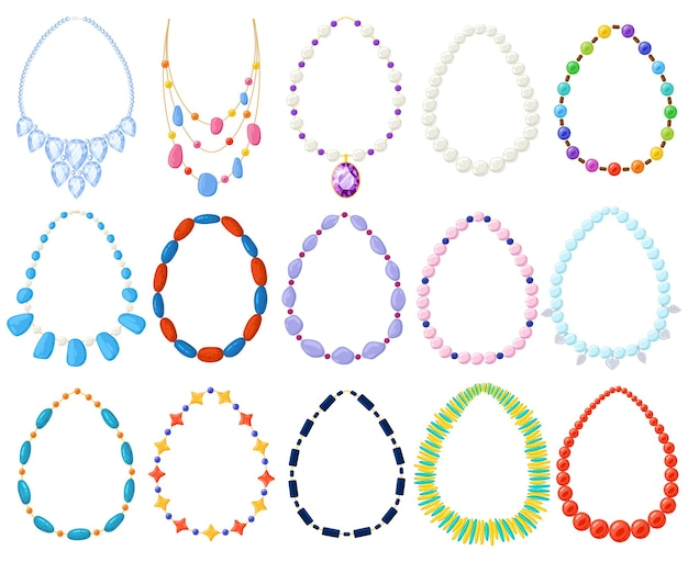 Femmes or, argent, perles bijoux et colliers. collier de femmes de dessin animé, ensemble d'illustrations vectorielles en perles d'or, d'argent, de perles, d'ambre et de turquoise. bijou précieux colliers
