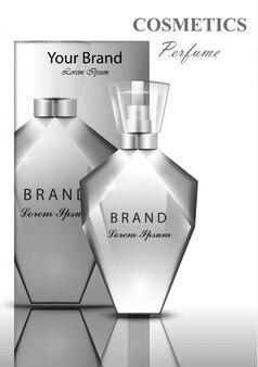 Femmes parfum parfum bouteille. conteneur transparent brillant. pack de produits vectoriels réalistes