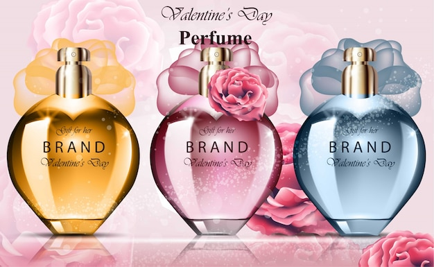 Les femmes parfument les parfums de collection de bouteilles colorées. produit vectoriel réaliste packagin