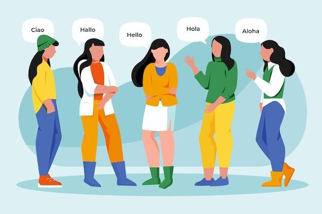 Femmes parlant dans différentes langues