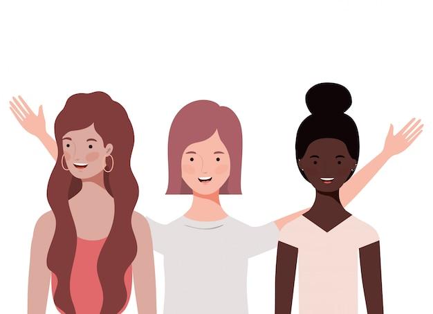 Femmes avec personnage avatar bulle