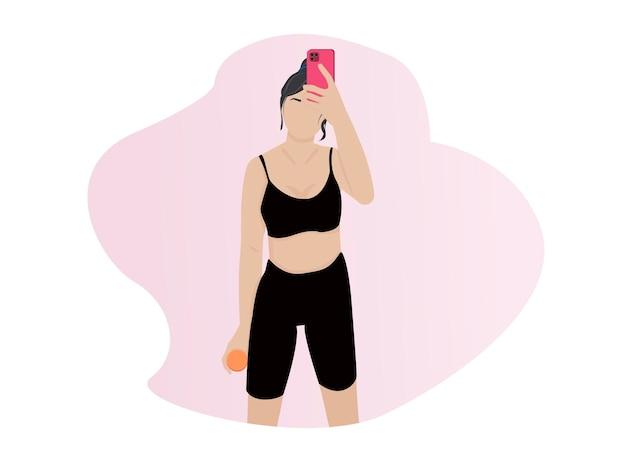 Femmes avec un personnage de dessin animé de téléphone prenant une photo de selfie blogueur de cours en ligne après la salle de sport