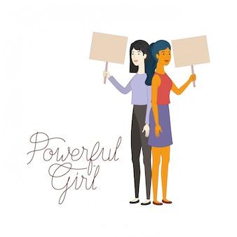 Femmes avec un personnage de fille puissant
