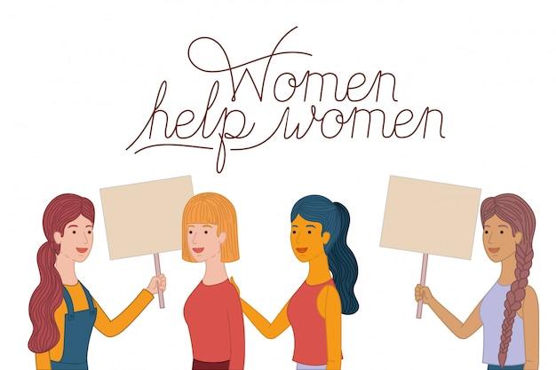 Les femmes portant une étiquette aident les femmes à devenir des personnages