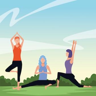 Femmes poses de yoga