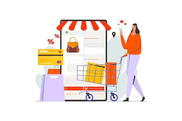 Femmes poussant le panier shopping dans l'illustration du marché en ligne