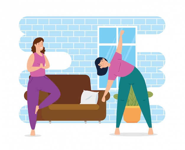 Femmes pratiquant l'exercice dans la maison