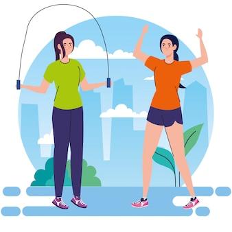 Femmes pratiquant l'exercice en plein air, concept de loisirs sportifs